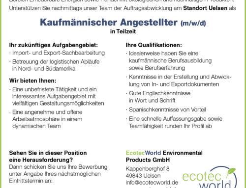 Wir suchen für unseren Standort in Uelsen einen Kaufmännischen Angestellten (m/w/d) in Teilzeit!